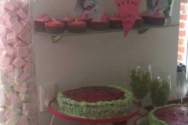 Vandmelon fest, frugt, kage, fødselsdag, barnedåb, pynt