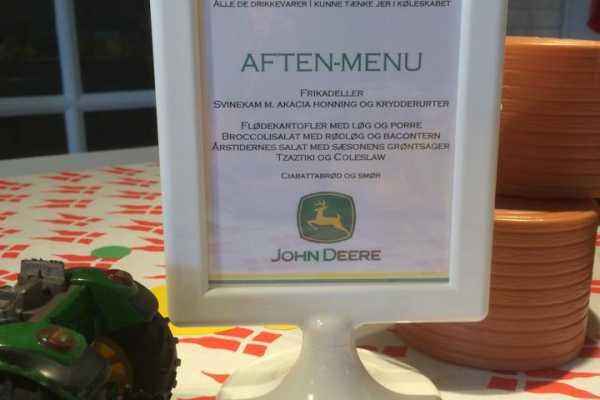 John Deere, traktor, børnefødselsdag, borddækning, menu