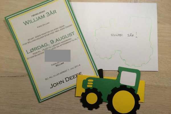 John Deere, Invitation, traktor, børnefødselsdag,