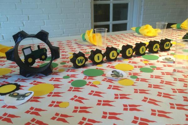 John Deere, traktor, børnefødselsdag, borddækning, traktorhjul