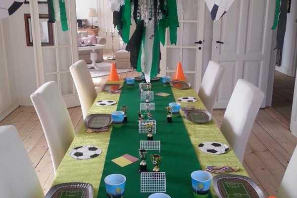 børnefødselsdag, fodboldfødselsdag, bordpynt