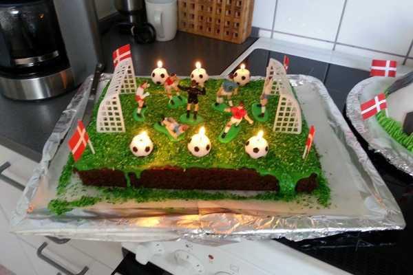 børnefødselsdag, fodboldfødselsdag, fodboldkage
