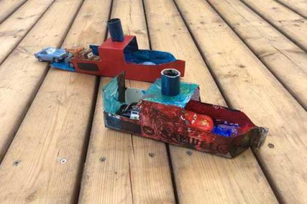 Mælkekarton, færge, hjemmelavet legetøj, kreative ideer, skib, båd,