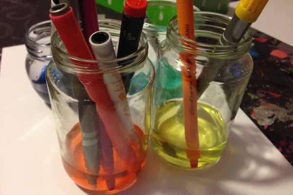 Hjemmelavet vandfarve af brugte tuscher