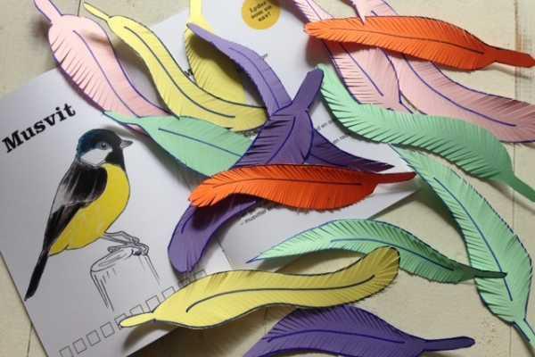 fuglefjer klip selv af pap