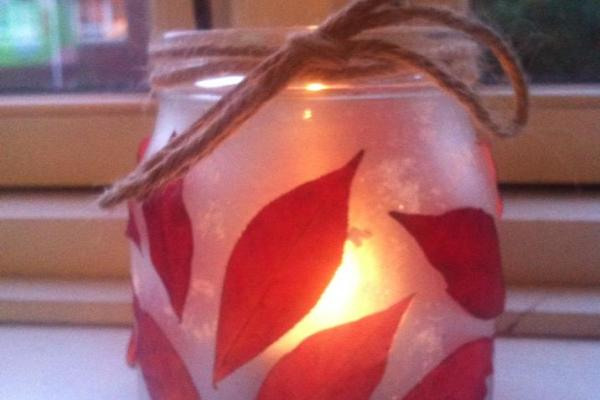 Lanterne, lysestage, lys, efterår, kreativ med ungerne. kreative ideer, blade, efterårsblade