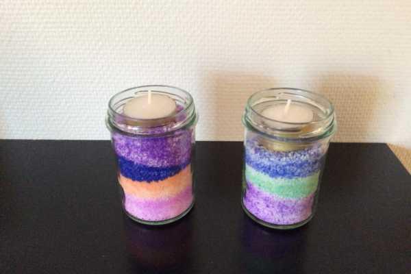 Lysestage med farvet salt