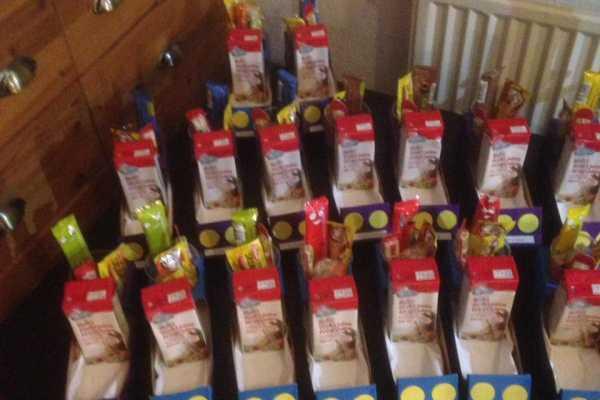 uddeling til børnefødselsdag bil af mælkekarton