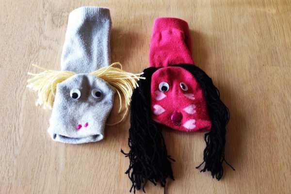 Sokkedyr, kreativ med ungerne, genbrug, genbrugsmaterialer, dukketeater