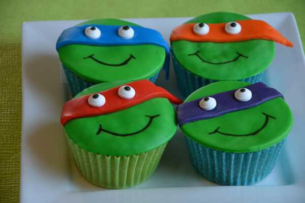 cupcakes, muffins, turtles, TMNT, birthday,
