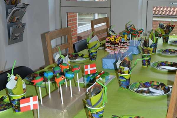 borddækning, turtles, TMNT, birthday,