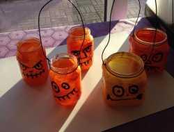 græskar, halloween, genbrug, lanterner, lygter