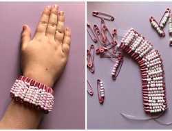 armbånd af sikkerhedsnåle og perler