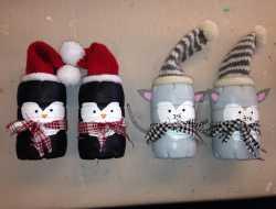 mus og pingvin af vandflaske til jul