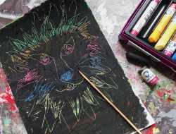scratch art med oliepastel, fedtfarver